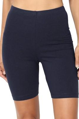 Omikka Solid Women Dark Blue Running Shorts Omikka Women's Shorts