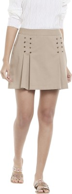 Vero Moda Solid Women Pleated Brown Skirt at flipkart