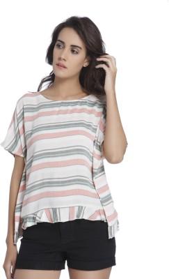Vero Moda Casual Half Sleeve Striped Women White Top