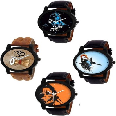 SkyLona Combo Of 4 New Attractive Mahadev Printed Dial With Leather Belt Casual watch Formal Watch Analog Watch For Boys & Men Watch  - For Men
