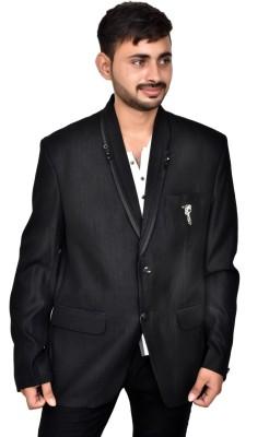 JG FORCEMAN Self Design Tuxedo Style Party Men Blazer(Black)
