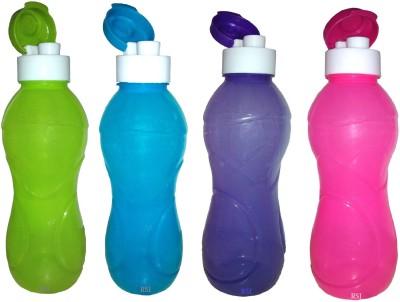 Rudra Sales India Aqua Safe Flip Cap Unbreakable Water Bottles 1000 Ml , Set of 4, Multi Color. 1000 Bottle(Pack of 4, Multicolor)