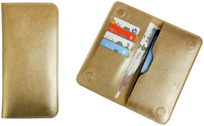 Emartbuy Wallet Case Cover for Panasonic Eluga Icon 2(Metallic Gold, Dual Protection, Artificial Leather)