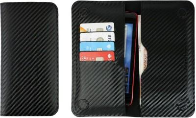 Emartbuy Wallet Case Cover for Intex Aqua Octa(Black Carbon, Dual Protection, Artificial Leather)