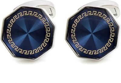 NAKABH Metal Cufflink Set(Silver, Blue)