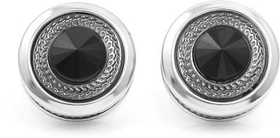 NAKABH Metal Cufflink Set(Silver, Black)
