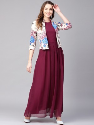 ATHENA Women Maxi Maroon Dress