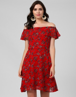 Remanika Women Fit and Flare Red, Black, White Dress
