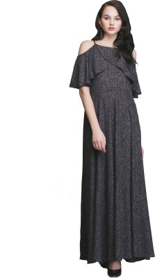 Eavan Women Maxi Black, Beige Dress