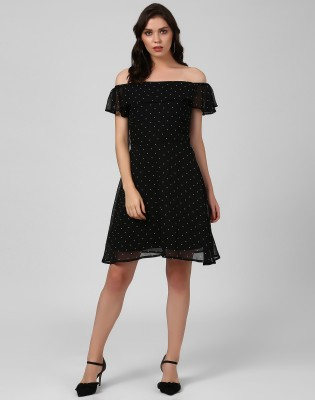 Remanika Women Fit and Flare Black, White Dress