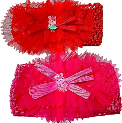 Proplady Floral Cutwork Combo Teddy Baby Girl Head Bands (Pack of 2- Red,Pink) Hair Band, Head Band(Pink, Red)