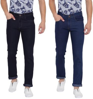 Tribewear Slim Men Dark Blue, Black Jeans(Pack of 2)