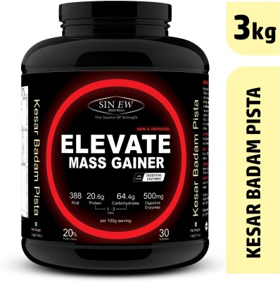 Sinew Nutrition Elevate Mass Gainer 3Kg Kesar Pista Badam Weight Gainers/Mass Gainers(3 kg, Kesar, Pista, Badam)