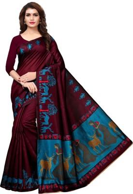 Saara Animal Print, Printed Fashion Art Silk Saree(Purple, Blue, Multicolor)