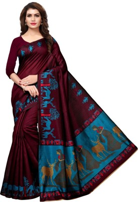 ba2f38a98 Saara Animal Print, Printed Fashion Art Silk Saree(Purple, Blue, Multicolor)