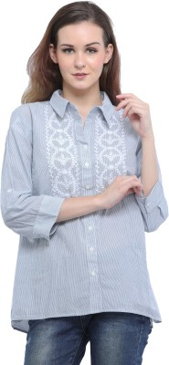Entease Women Embroidered Casual Blue Shirt