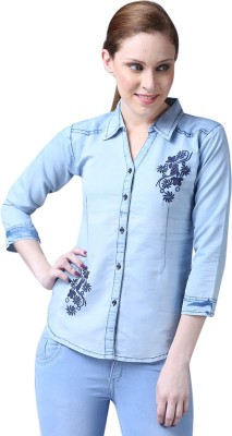 Sooma Women Embroidered Casual Blue Shirt