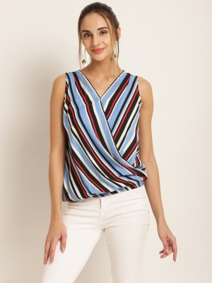 Harpa Casual Sleeveless Striped Women Multicolor Top
