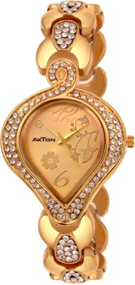 AXTON DMLV-GL-1001 Golden Dial Stone Stud Partywear Exclusive Analog Watch  - For Women
