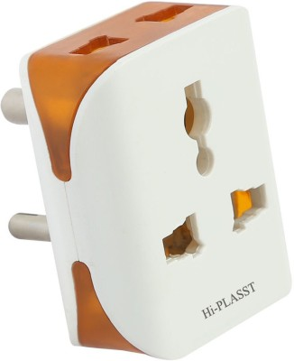 HI-PLASST 3Pin Modular-1Pc Universal Multiplug, Socket Connector, Worldwide Adaptor(White)