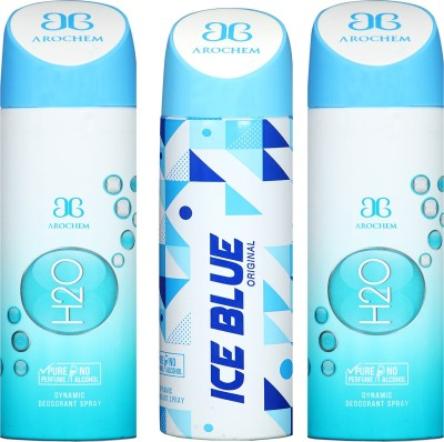 arochem H2O-2 AND ICE BLUE 3 PACK COMBO DYNAMIC DEODORANT SPRAY Deodorant Spray - For Men & Women(600 ml, Pack of 3)