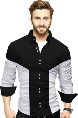 Tripr Men Color Block Casual White, Black Shirt