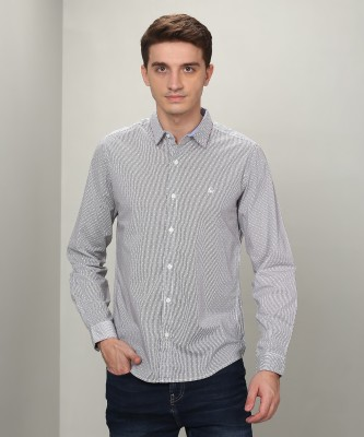 United Colors of Benetton Men Printed Casual White, Grey Shirt at flipkart