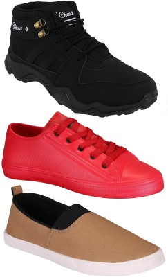 Chevit Combo Pack of 3 Casual & Sports Shoes (Sneakers & Running Shoes) Loafers For Men(Red, Black, Beige)