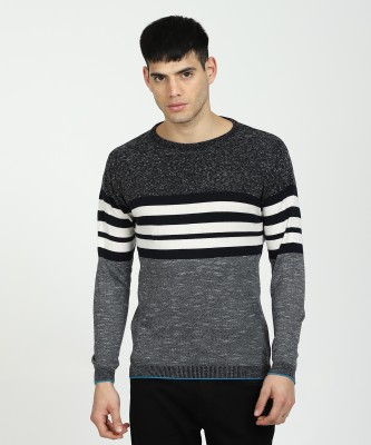 EASIES BY KILLER Striped Round Neck Casual Men's Grey Sweater