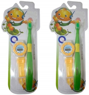 Confidence Return Gift Flexible Tooth Brush with Digital Hand Watch for Kids Use, Set of 2, Multicolor Soft Toothbrush(Pack of 2)