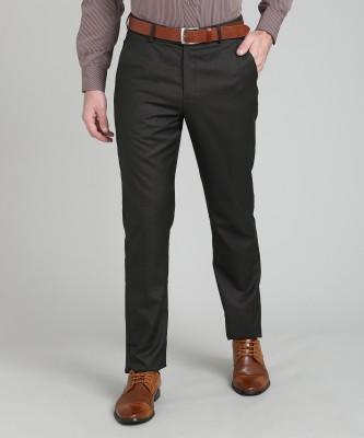 Peter England Slim Fit Men's Brown Trousers