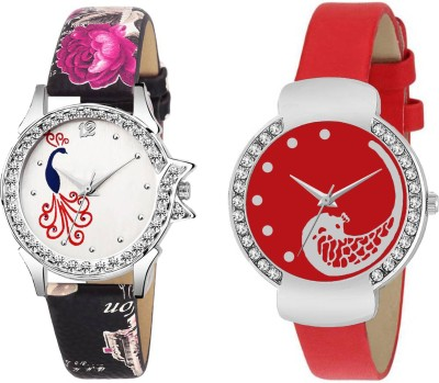 GUOYU Pack Of Two Metal And Leather Strap Women Analog Princess Fashion GY-P124 Watch  - For Girls