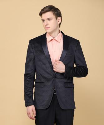 JG FORCEMAN Self Design Tuxedo Style Party Men Blazer(Blue)