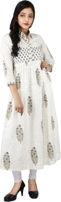 Handloom-Palace Women Block Print Flared Kurta(White) Flipkart