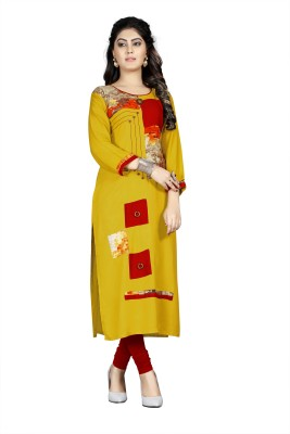 Prakhya Women Printed, Self Design A-line Kurta(Yellow)