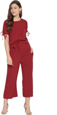 Cottinfab Women Solid Maroon Top   Pyjama Set
