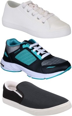 Chevit Combo Pack of 3 Casual & Sports Shoes (Sneakers & Running Shoes) Loafers For Men(White, Blue, Grey)