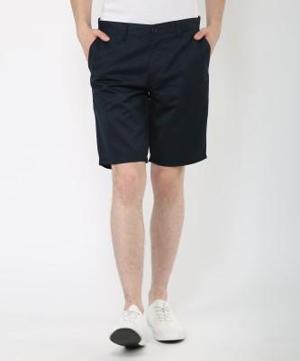 Metronaut Solid Men's Blue Basic Shorts