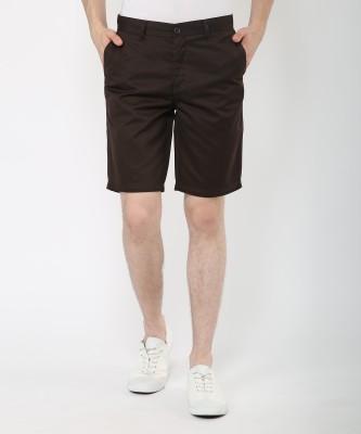 Metronaut Solid Men's Brown Basic Shorts