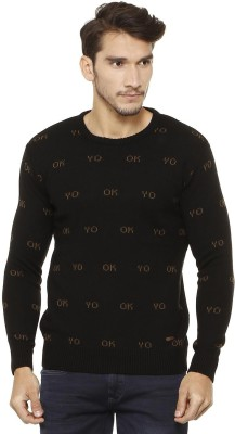 People Self Design Crew Neck Casual Men Brown Sweater