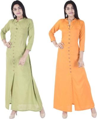 Desier Women Solid Gown Kurta(Light Green, Orange) Flipkart