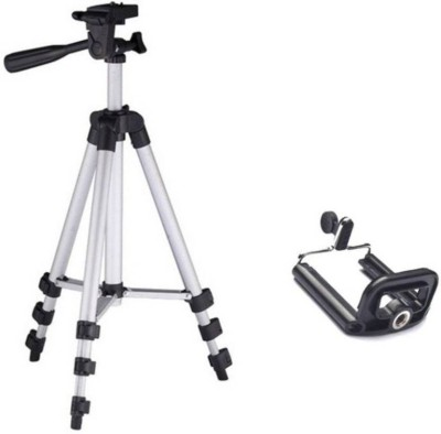 Junaldo 3110 tripod stand for mobile phone and light weight camera Tripod(Silver, Supports Up to 1500 g) 1