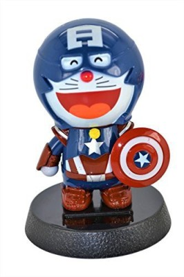 Doraemon Captain America 4.5-Inch Solar Powered Bobble-Head Action Relaxation Toy For Car Home Office.Limited Edition.(Multicolor)