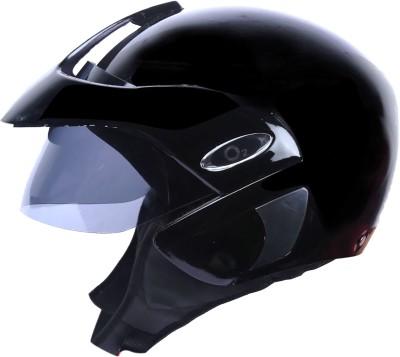 AutoVHPR O2 Black Pearl Open Face I S I Certified Helmet with Peak Motorbike Helmet(Black)