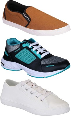 Chevit Combo Pack of 3 Casual & Sports Shoes (Loafers Shoes) Slip On Sneakers For Men(Green, Blue, Black)