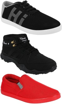 Chevit Combo Pack of 3 Casual & Sports Shoes (Sneakers & Running Shoes) Loafers For Men(Red, Black, Grey)