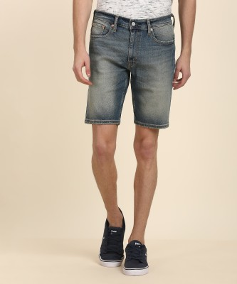 Levi's Solid Men Blue Denim Shorts