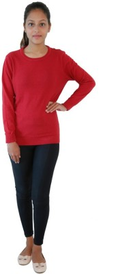Crimsoune Club Solid Round Neck Casual Women Yellow Sweater