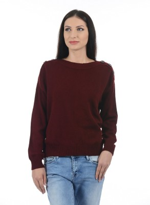 Pepe Jeans Solid Boat Neck Casual Women Dark Blue Sweater