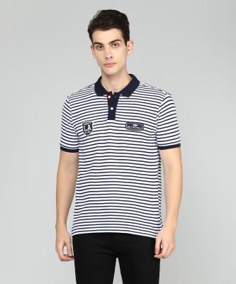 Metronaut Striped Men Polo Neck White T-Shirt